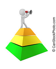 3d person with megaphone on chart