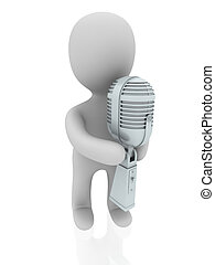3d person with microphone