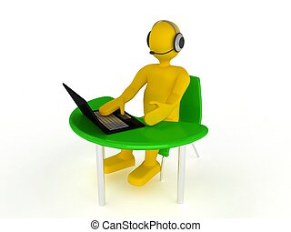 3d person with notebook