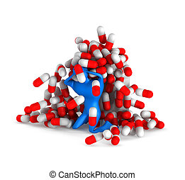 3d person with pills and bottle