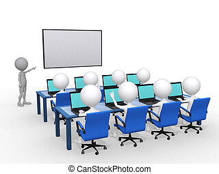 3d person with pointer in hand close to board, concept of ...