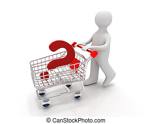 3d person with question mark on a pushcart