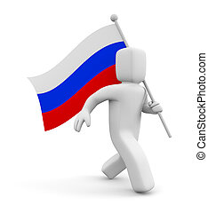 3d person with Russian flag