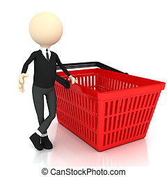 3d person with Shopping basket