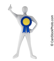 3d person with thumb up and blue ribbon