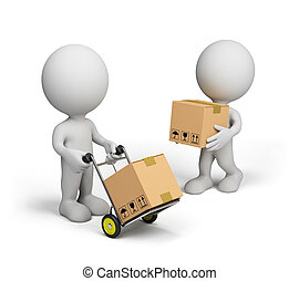 3d person with trolley - 3D person carries boxes on a...