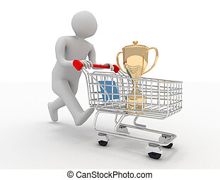 3d person with trophy in the shopping cart