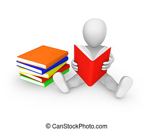 3d person with with colored books reading