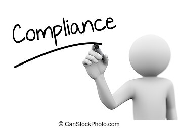 3d person writing compliance on transparent screen - 3d...