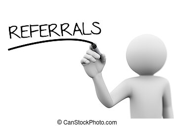 3d person writing referrals on transparent screen