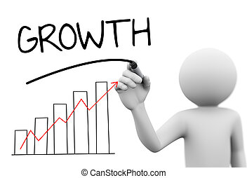 3d rendering of man drawing business arrow growth progress graph bar chart diagram and word growth on transparent glass screen. 3d white people character