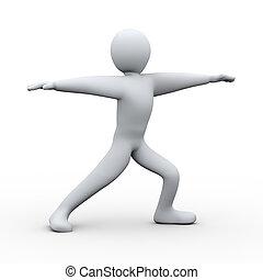 3d person yoga virabhadrasana - 3d illustration of man...