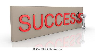 3d, persona, acabado, éxito, palabra