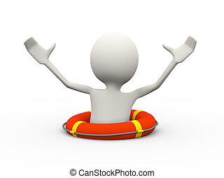 3d, persona, annegamento, chiamata, per, aiuto