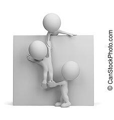 3d, persona, -, ayuda, a, el, amigo