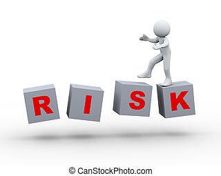 3d, persona, camminare, su, rischio, cubo