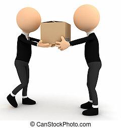 3d, persona, con, cartone, pacchetto