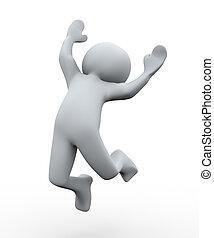 3d, persona, feliz, salto