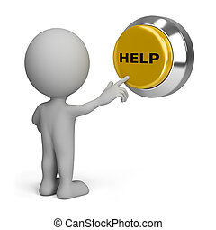 3d, persona, premere bottone, aiuto