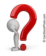 3d, persona, -, punto interrogativo