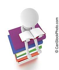 3d, persona, sentarse, en, un, pila de libros, lectura, un,...