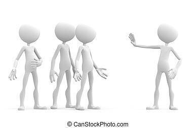 3d, personagem, atrasando, seu, mão, em, um, sinal parada