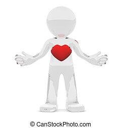3d, personagem, com, coração vermelho