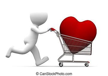 3d, personagem, dirigindo, carro shopping, com, coração vermelho, dentro
