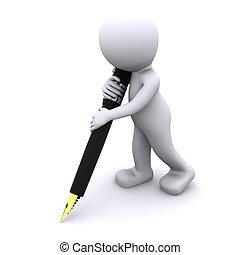 3d, personagem, escrita, com, grande, caneta