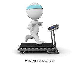3d, personagem, executando, ligado, treadmill