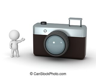 3d, personagem, mostrando, câmera foto