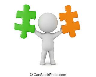 3d, personagem, segurando, dois, confunda pedaços