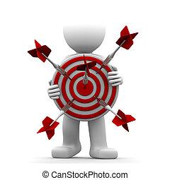 3d, personagem, segurando, um, vermelho, alvo tiro arco