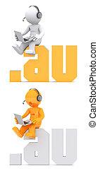 3d, personagem, sentando, ligado, .au, domínio, sinal.