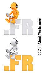 3d, personagem, sentando, ligado, .fr, domínio, name.
