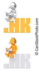 3d, personagem, sentando, ligado, .hk, domínio, name.