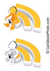 3d, personagem, sentando, ligado, rss, símbolo