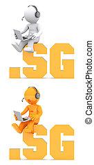 3d, personagem, sentando, ligado, .sg, domínio, name.
