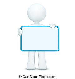 3d, personagem, tábua, segurando, em branco