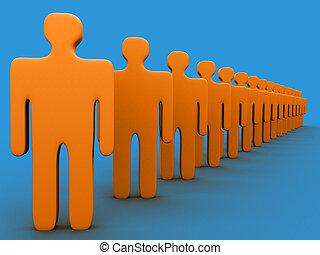 3d, personas en fila