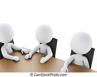3d, persone affari, in, uno, riunione ufficio, room.