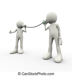 3d, persone, comunicazione, metallico, stagno può telefonare, concetto