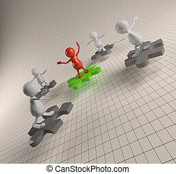 3d, persone, lavoro squadra, con, puzzle