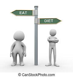 3d, persone, mangiare, dieta, segno strada