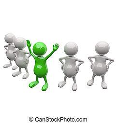 3d, persone, squadra, con, condottiero