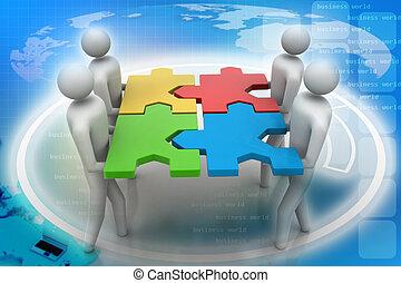 3d, persone, -, squadra, con, il, enigmi, io