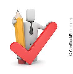 3d, personne, à, crayon, et, chèque, symbole