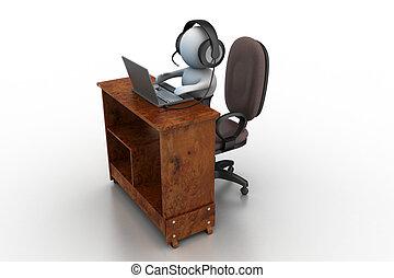 3d, personne, fonctionnement, à, écouteurs, à, microphone, et, laptop.