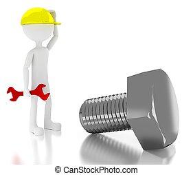 3d, personne, ouvrier construction, confondu, sur, géant, boulon