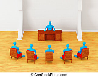 3D persons having business meeting